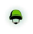 Army helmet comics icon vector image