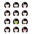 cute emoji collection kawaii asian girl face vector image