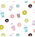 coffee with donut tasty pattern snack vector image