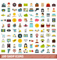 100 shop icons set flat style vector image