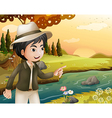 a man with a hat at riverbank vector image vector image