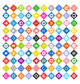 Arrow sign icon set on rhomb shapes vector image