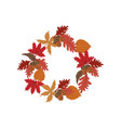 autumn leaves wreath vector image vector image