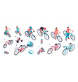bicycles isometric set vector image vector image