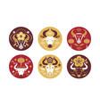 buffalo head logo set round emblems vector image vector image