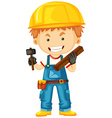 Carpenter with wood and tools vector image vector image