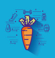 carrot with healthy lifestyle icons vector image vector image