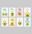 cartoon avocado cards cute healthy food baby vector image