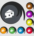 cheese icon sign Symbols on eight colored buttons vector image vector image
