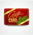 Christmas gift card with holly vector image vector image
