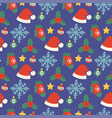 christmas hats seamless pattern background vector image