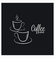 coffee cup logo on concept black background vector image vector image