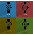 Color set Watchclock Flat modern web button with vector image