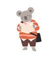 cute childish character or koala cub student vector image vector image