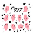 cute piggy character set emotional pig vector image vector image