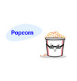 cute pop corn cartoon comic character in glasses vector image