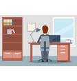 design of office environment with man work vector image vector image