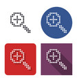 dotted icon increase magnifying glass in four vector image vector image