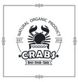 emblem with crab vector image vector image