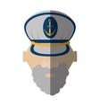 face beard captain cap anchor boat shadow vector image