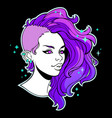 girl with bright mohawk hairstyle vector image vector image