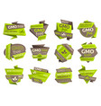 gmo free origami paper icons organic food vector image