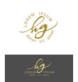 h g handdrawn brush monogram calligraphy logo vector image vector image
