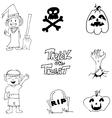Halloween zombie witch pumpkins doodle cute vector image vector image