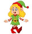 happy girl wearing elf costume vector image vector image
