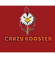 head of crazy rooster vector image vector image