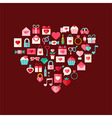 Heart shaped valentine day flat style icons vector image vector image