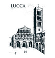 historical old building facade in lucca gothic vector image