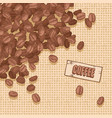 label coffee with coffee beans vector image vector image