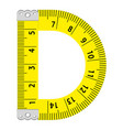 letter d ruler icon cartoon style vector image