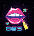 lips pop art with lipstick style vector image