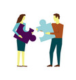 man and woman connecting puzzle elements business vector image vector image