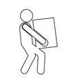 man moving box pictogram icon design vector image