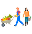 man pushing cart with organic veggies harvesting vector image vector image