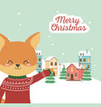merry christmas celebration cute fox with sweater vector image vector image