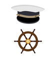 Navy hat and wheel vector image