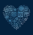 online poker heart concept outline blue vector image