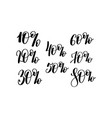 percent hand lettering inscription black ink vector image