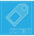 Price tag sign White section of icon on blueprint vector image vector image