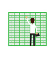 professional man worker opening banking cell safe vector image