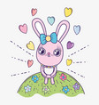 rabbit with hearts to happy valentine day vector image vector image