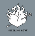 Red burning heart pierced by arrow sizzling love