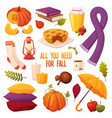 set autumn elements vector image