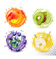 set fruit juice splash in a glasses vector image vector image