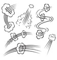set of comic style action effects speed lines on vector image vector image
