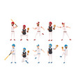 set professional baseball players teamwork vector image vector image